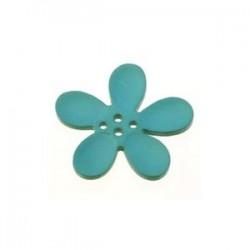 Orchidee résine 4 trous 20mm Turquoise
