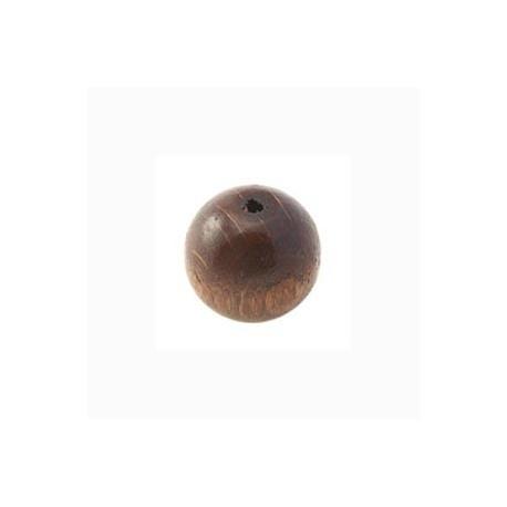 Perle en bois 12mm brun foncé