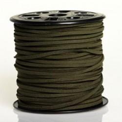 Lanière daim artificielle vert khaki/ 1m