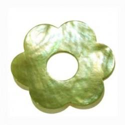 Donuts fleur nacre brillant vert 35mm