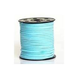 Lanière daim artificielle bleu turquoise clair/ 1m