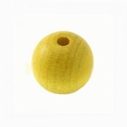 Perle en bois 15mm jaune