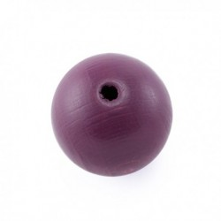 Perle en bois 15mm mauve