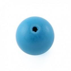 Perle en bois 15mm turquoise vif