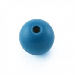 Perle en bois 12mm turquoise vif