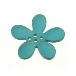 Orchidee résine 4 trous 30mm Turquoise foncé