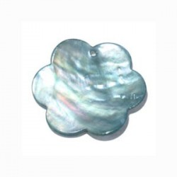 Sequin fleur nacre brillant bleu 28mm