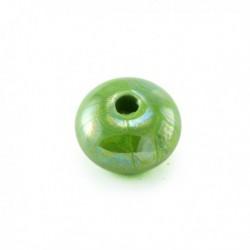 Perle roue céramique 16mm vert flash émaillé