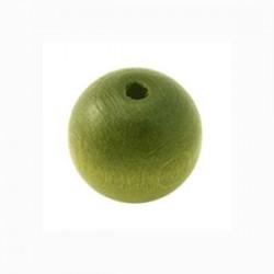 Perle en bois 15mm khaki