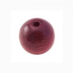 Perle en bois 15mm bordeaux