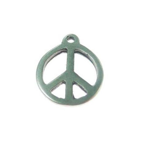 Pendentif métal rond Peace anf love 21x24 mm