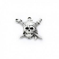 Pendentif métal Tête pirate 18x20 mm
