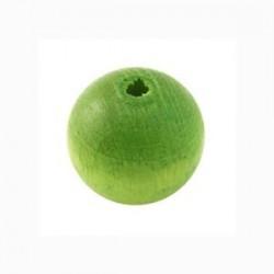 Perle en bois 15mm vert
