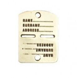 Pendentif métal plaque militaire 42*32mm