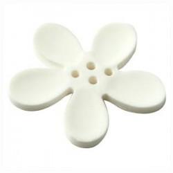 Orchidee résine 4 trous 40mm Blanc