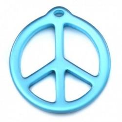 pendentif peace résine 25mm brillant turquoise