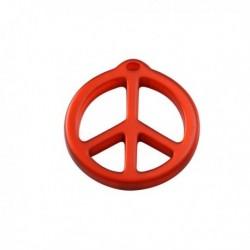 pendentif peace résine 25mm brillant rouge