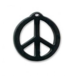 pendentif peace résine 25mm brillant noir