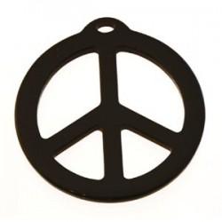 pendentif peace résine 40mm brillant noir