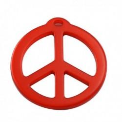 pendentif peace résine 40mm brillant rouge