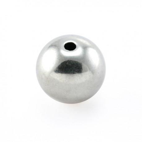 perle métal ronde 12mm vieil argent
