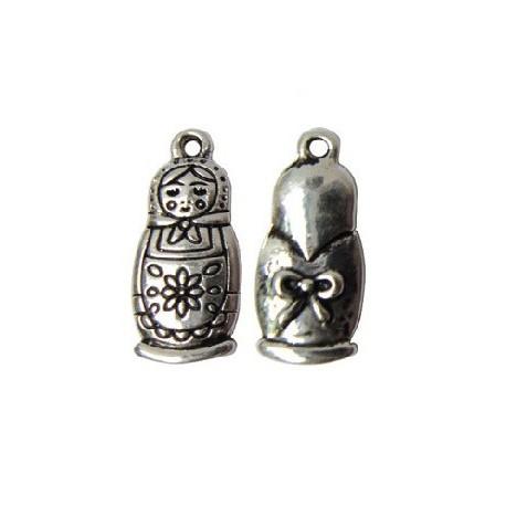 Pendentif métal Matriochka vx.argent