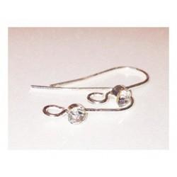 Paire de boucles d oreille pendante strass avec anneau