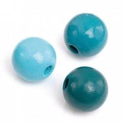 Mix de perles en bois 12mm Turquoise/30p