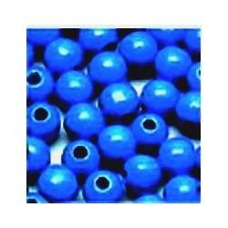 Perle en bois 8mm Bleu Electrique