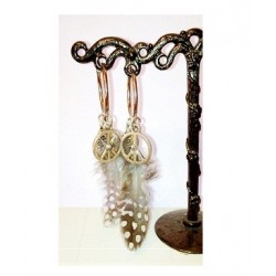 Boucles d'oreille plume peace strass