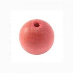 Perle en bois 15mm rose