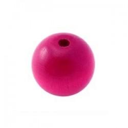 Perle en bois 15mm rose vif