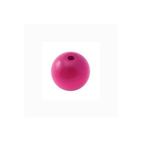 Perle en bois 12mm Rose vif