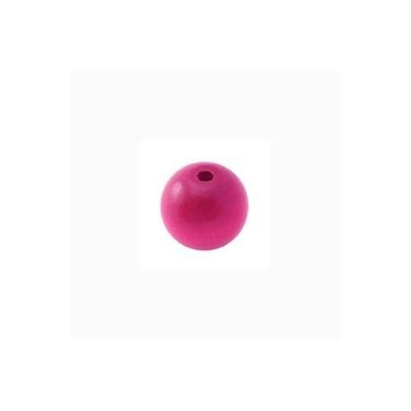 Perle en bois 10mm rose vif