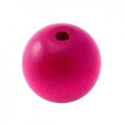 Perle en bois rose vif 20MM