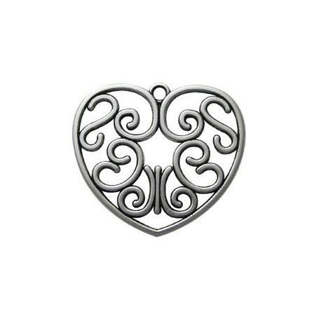 Pendentif métal coeur 55mm