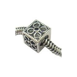 Perle métal rondelle à visser avec fleur 7X8mm