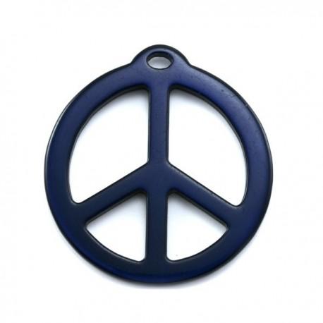 pendentif peace résine 40mm brillant bleu marine