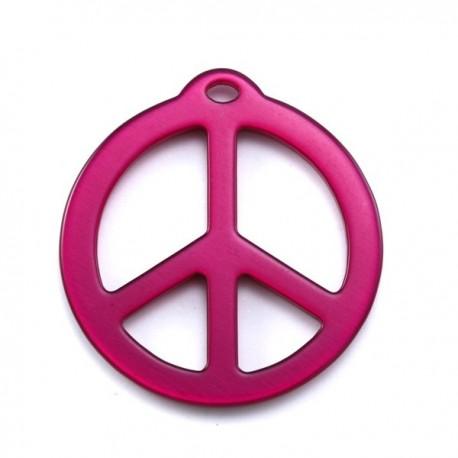 pendentif peace résine 40mm brillant fushia