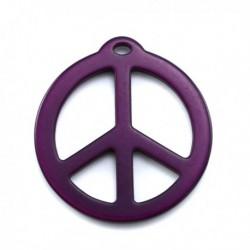 pendentif peace résine 40mm brillant améthyste