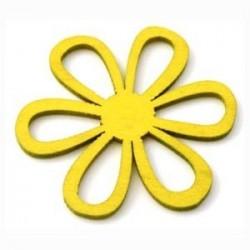 Orchidée bois jaune 6 pétales évidées 45mm