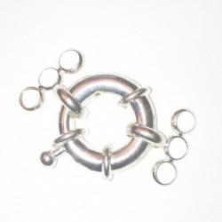 Fermoire bouée en métal argenté 14mm avec anneau 3 rangs