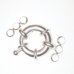 Fermoire bouée en métal argenté 18mm avec anneau