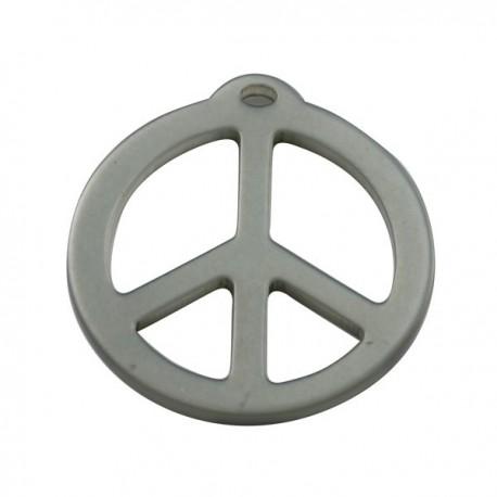pendentif peace résine 40mm brillant gris