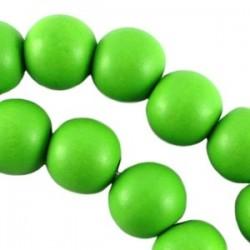 Perle en bois 12mm vert Fluo