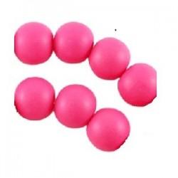 Perle en bois 12mm rose Fluo