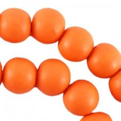 Perle en bois 12mm orange Fluo