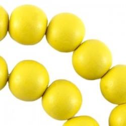 Perle en bois 12mm jaune Fluo