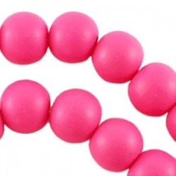 Perle en bois 16mm rose Fluo