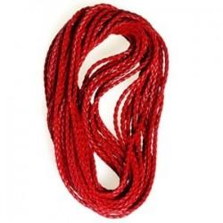 Lanière Simili cuir tressé rouge +-4mm/20 cm